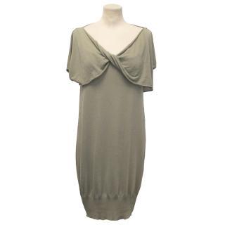 Sportmax Khaki Dress with Thin Wrap Cardigan