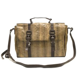Maisha London Brown Snake Skin Messenger Bag