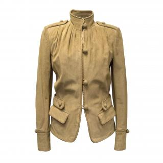 Yves Saint Laurent Tan Suede Jacket With Woven Leather Trim