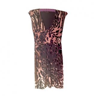 Roberto Cavalli animal print V neck dress