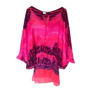 Roberto Cavalli magenta waves tie dye silk tunic top
