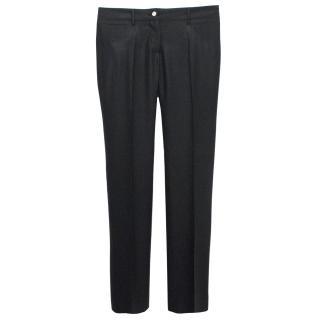 Dolce & Gabbana Black Wool Herringbone Trousers