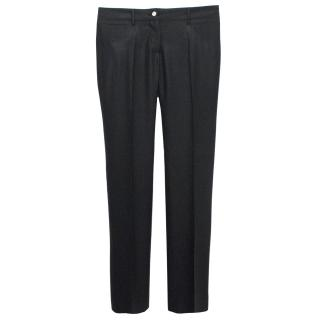 Dolce & Gabbana Black Wool Herringbone Trousers