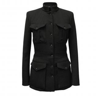 Balenciaga Black Wool Jacket with Four Front Pockets