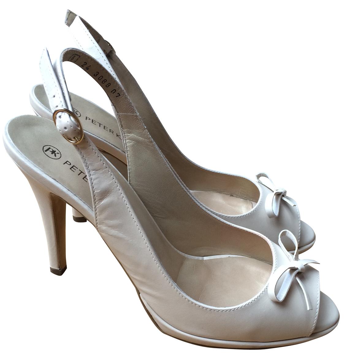 huge selection of 45dbe 75bd2 Peter Kaiser Cream Peep Toe Heels
