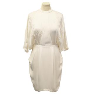 Willow Ivory Silk Knee Length Dress with Embroidery