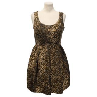 Zara Woman Leopard Print Sleeveless Dress with Gathered Waist