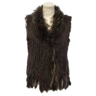 Fox and Knitted Rabbit Brown Fur Gilet