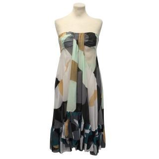 Diane von Furstenberg Strapless Multicolour Dress With Ruching