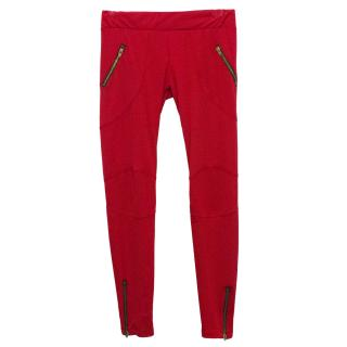 LNA Clothing Red Leggings with Knee Patches and Zip Detail