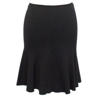 Alaia Black Peplum Wool Skirt