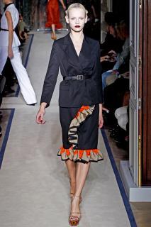 Yves Saint Laurent Black Blazer and Ruffle Skirt