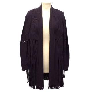 Issey Miyake Purple Long Jacket with Perforated & Fringe detail