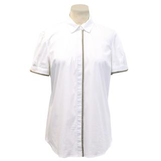 Brunello Cucinelli White Shirt with Gold Beaded Trim