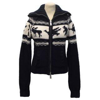 DSquared Navy Cream Patterned Thick Wool Cardigan with Zip