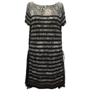 Sacai Assoc Green Paisley Dress with Black Stripes