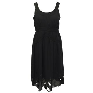 Catherine Malandrino Black Silk Dress with Crochet Detail