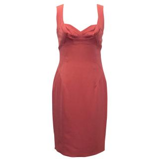 Zac Posen Coral Fitted Dress with Pleated Top
