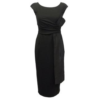 Michael Kors Black Wool Blend  Dress with Gathered Front Detail