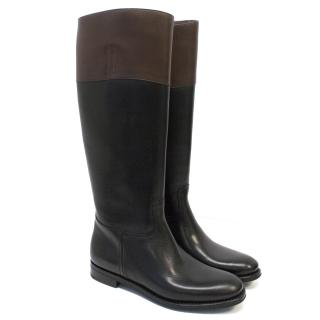 Church's 'Martina' Black and Brown Riding Boots Knee High