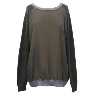 Vince Grey Cashmere and Khaki Silk Front Panel Sweater