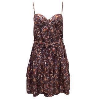Zimmermann Silk Floral Bustier Style Dress with Waist Tie