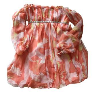 Marchesa notte mini crane print dress. Orange us4/uk8