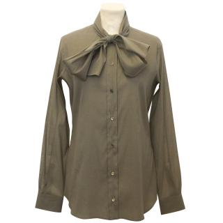 Lora Piana Khaki Silk Blend Shirt with Neck Tie