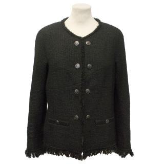 Chanel Black Wool Tweed Jacket with Tassel Edging