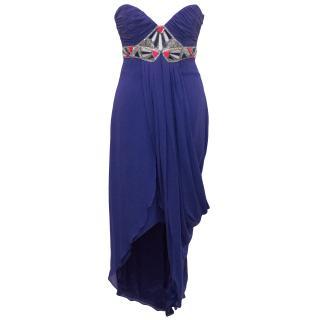 Temperley London Blue Embellished Long Silk Dress