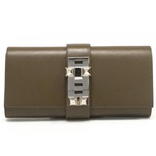Hermes 'Medor' Clutch Bag in Taupe