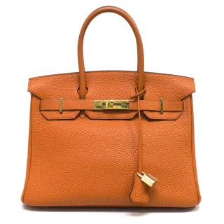 Hermes Orange Togo Leather Birkin 30cm