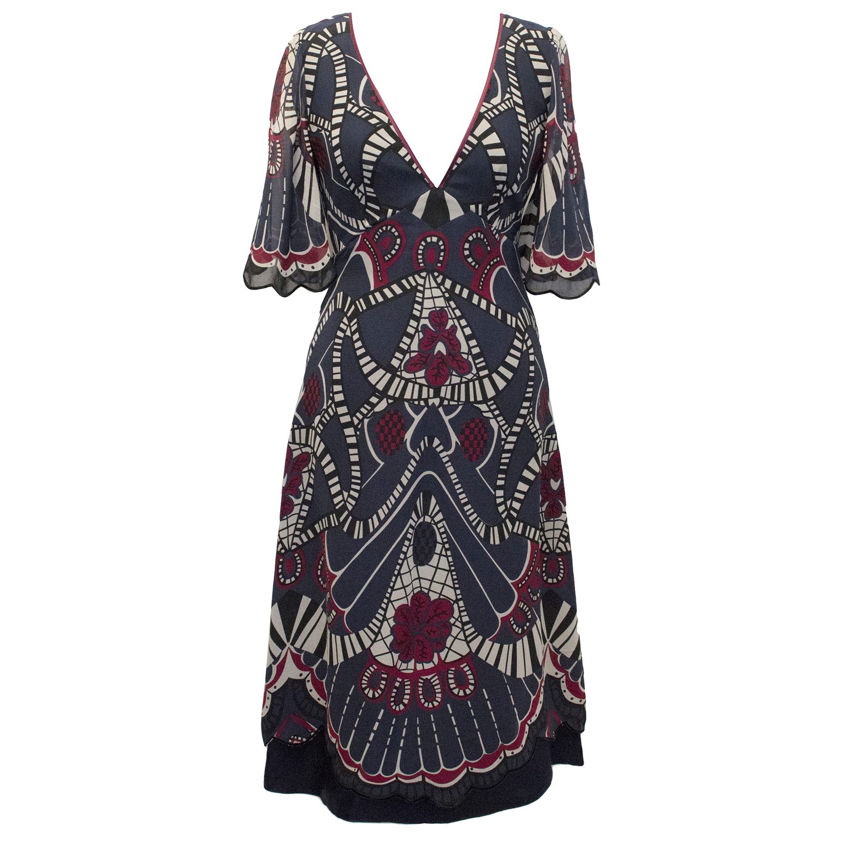 Temperley Navy Patterned Dress