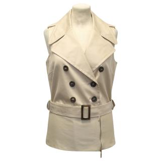 Wolford Sleeveless Sand Trench Jacket with Waist Tie