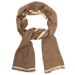 Loro Piana Brown and Gold Cashmere and Silk Scarf