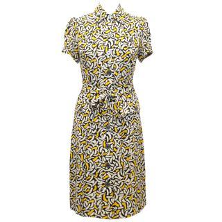Diane Von Furstenberg Yellow, Black and White Button Up Dress