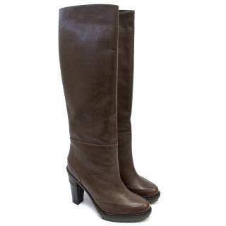 Marni Brown Leather Knee High Heeled Boots