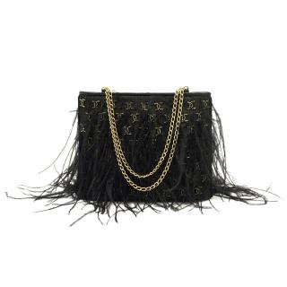 Chanel Gold and Black Feather Bag