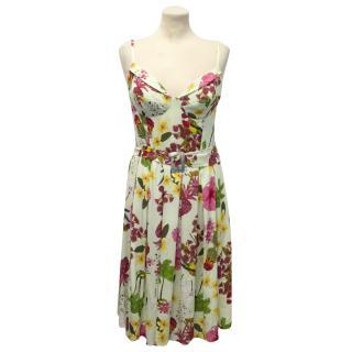 Collette Dinnigan Pale Green Floral Patterned Silk Dress