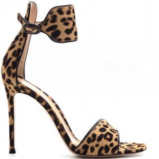 Gianvito Rossi Leopard Print Pony Hair Heeled Sandals