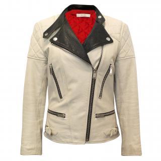 Celine Beige and Black Biker Leather Jacket