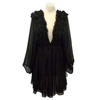 Thomas Wylde Black Silk Ruffled Tunic