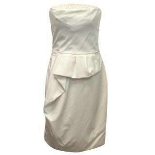 Lela Rose Cream Silk Cotton Embellished Dress