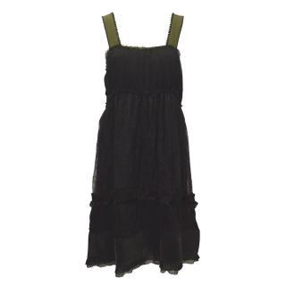 Alberta Ferretti Silk and Lace Dress