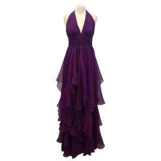 Marchesa Notte Purple Silk Gown