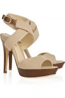 Alexandre Birman Canvas and Leather Heel Sandals