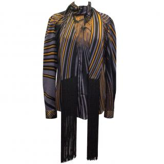 Vionnet Orange and Purple Patterned Shirt with Fringe Detail