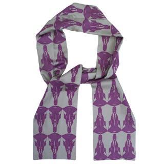 Thomas Wylde Grey and Purple Printed Scarf