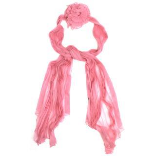 Valentino Pink Silk Scarf with Flower