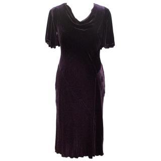 Anna Sui Velour Purple Dress